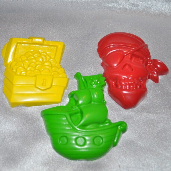 Recycled Crayons Large Pirate Shaped Total of 3.  Boy or Girl Kids Unique Party Favors, Crayons.