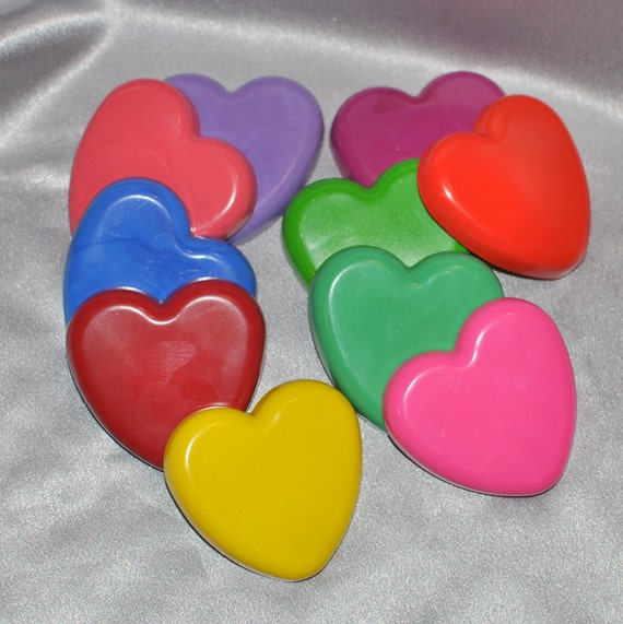 Sensory Heart Recycled Crayons, Total of 10.  Boy or Girl Kids Unique Party Favors, Crayons.