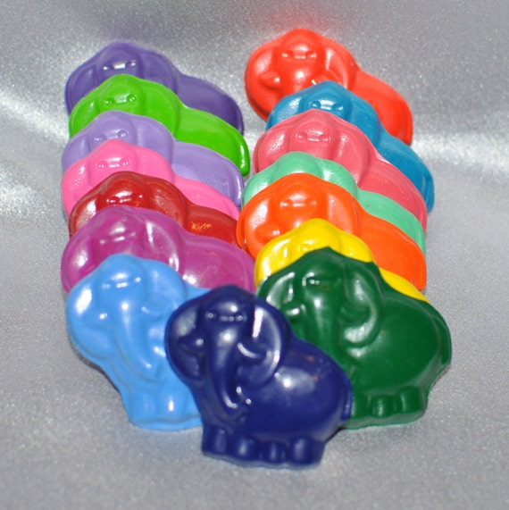 Recycled Crayons Elephant Shaped Total of 15 Crayons.  Boy or Girl Kids Unique Party Favors, Crayons.
