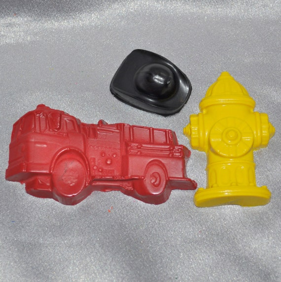 Recycled Crayons 8 Fire Truck,8 Firemen Hats Shaped, 8 Fire Hydrant Crayons