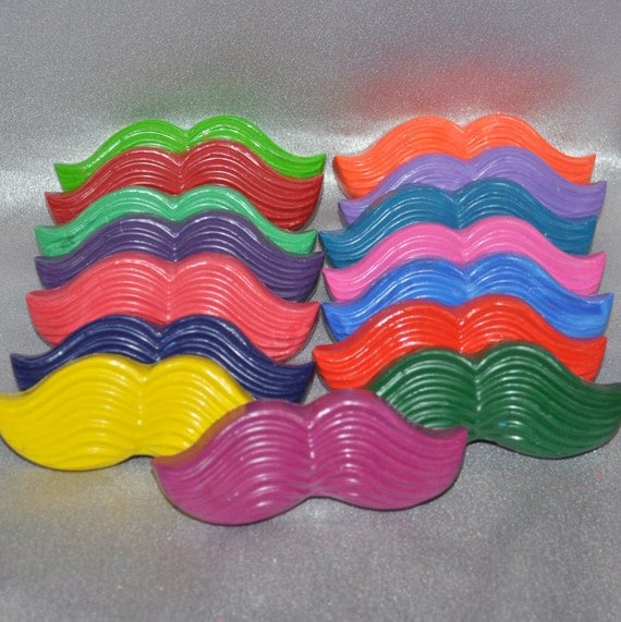 Recycled Crayons Mustache Shaped Total of 30.  Boy or Girl Kids Unique Party Favors, Crayons.