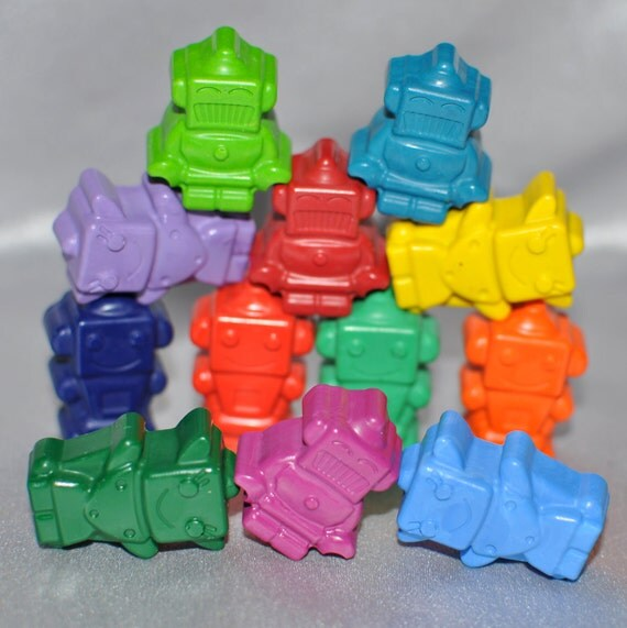 Sensory Items, Recycled Crayons Robot Shaped Total of 12.  Boy or Girl Kids Unique Party Favors, Crayons.