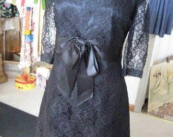 Vintage 50s,60s Black Lace Sweetheart Dress