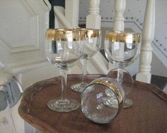 Vintage 50's Crystal Stemware Gold /Turquoise Banding set of Four