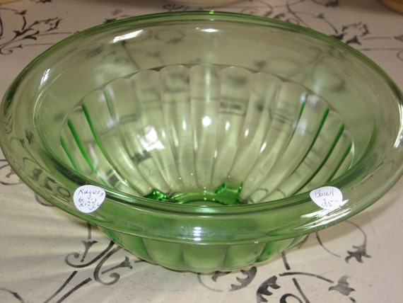 Vintage Depression Era Green Glass Mixing Bowl