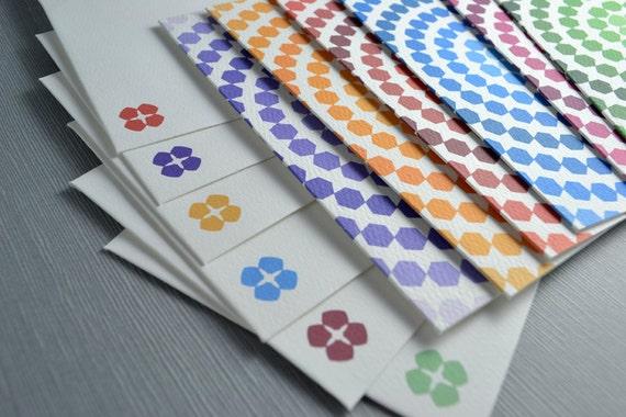 Geometric Ombre Card Set - Hexagon Circles (6)