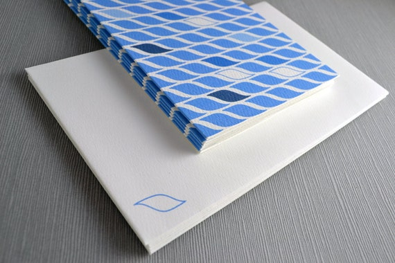 Blue Water Cards on Beautiful Ripple Textured Card - blank inside