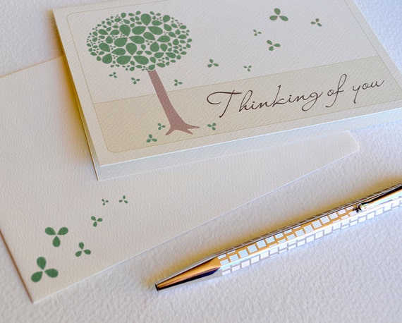 Thinking of You Card - Green Blossom Tree