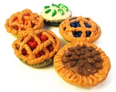 Handmade Polymer Clay Mini Pies - Set of 5 Bottlecap Magnets