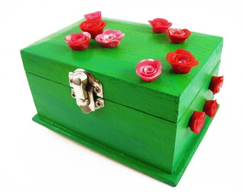 Rose Jewelry Box, Hand Painted Jewelry Box, Green Jewelry Box Gifts For Girlfriend, Polymer Clay Rose Small Jewelry Box, Rose Jewelry Holder