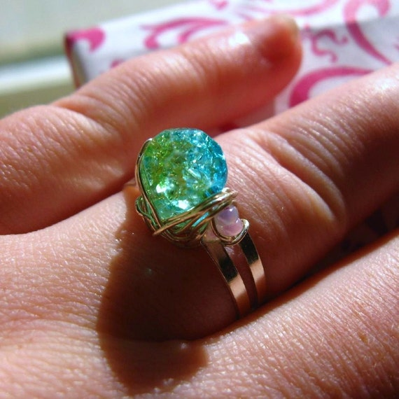 Ocean Blue/Green Gem Wire Wrapped Ring