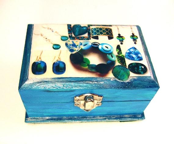 Blue Jewelry Box with Jewelry Collage