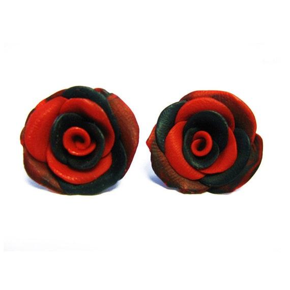 Handmade Polymer Clay Black & Red Rose Earrings for Sensitive Ears