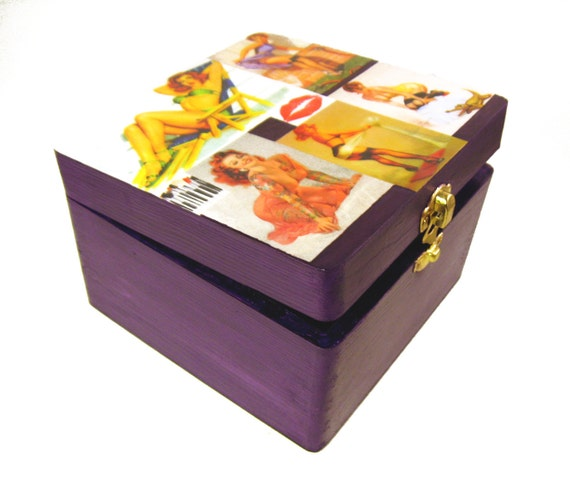 Vintage Pin Up Girls Wood Jewelry Box