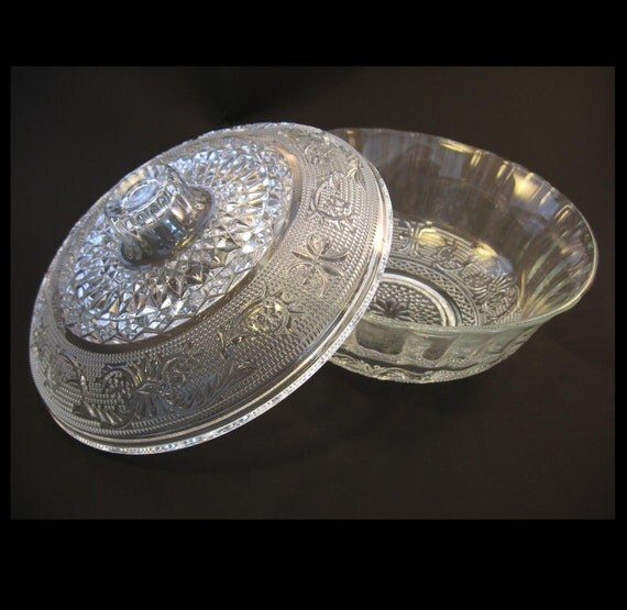 Vintage Glass Candy Dish, Candy Bowl