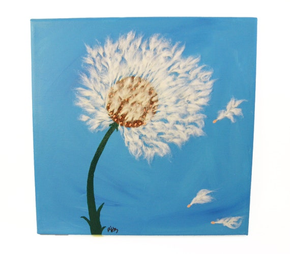 Dandelion Wishes Painting, Make A Wish, Dandelion Art, 3 Painting Set, Unique Wall Decor, Mixed Media Painting 3D Art, Blue Wall Art 10 x 10
