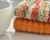 Knitted Kitchen DishCloths Hand Knit Cotton Dishcloths Mango Madness