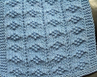 KNITTING PATTERN-Diamonds by the Dozen, Dishcloth Pattern