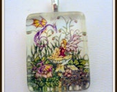 Dragon and the Fairy Glass Tile Pendant