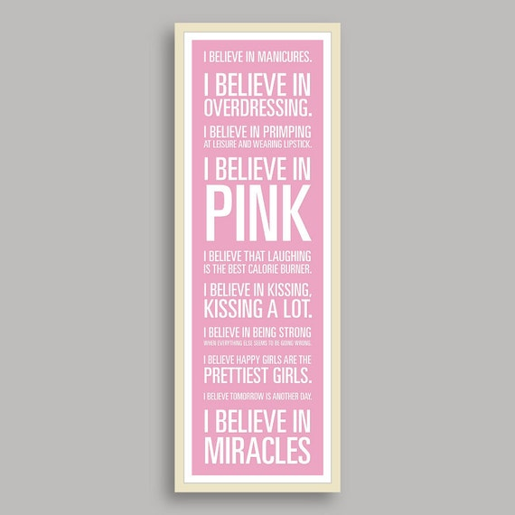 "Audrey Hepburn ""I Believe"" Print - Pale Pink Background (11.75x36 inches)"