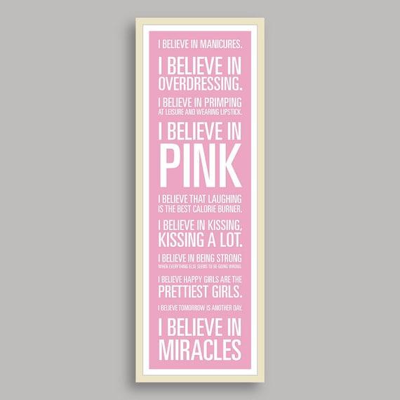 "Audrey Hepburn ""I Believe"" Print - Pale Pink Background (11.75x36 inches)"