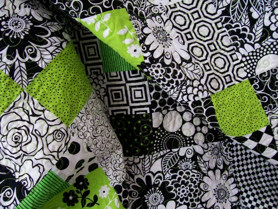 Lap Quilt - Modern Black, White and Lime Green (Free U.S. Shipping)