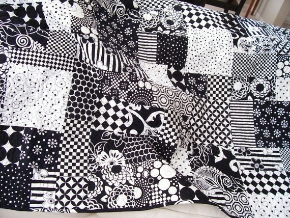 Lap Quilt - Modern Black and White (Free U.S. Shipping)