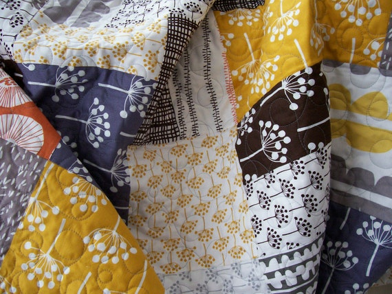 Lap Quilt - Soft Gray, Goldenrod, Terra Cotta and Brown (Free U.S. Shipping)