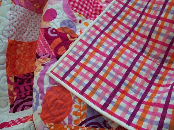 Baby Quilt - Purple, Pink & Orange (Free U.S. Shipping)