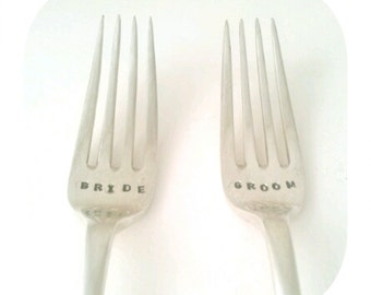 Personalised Custom Hand Stamped Vintage BRIDE and GROOM forks Goozeberry Hill - Perfect wedding present / gift