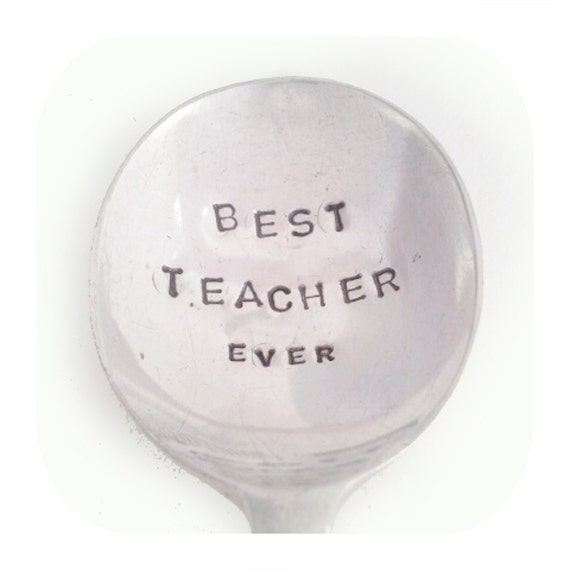 Hand Stamped Vintage Spoon - Present / Gift  for Teacher - BEST TEACHER EVER - Goozeberry Hill - Personalised / Custom available too