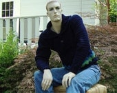 Men's Sweaters, Blue Sweater, Navy Blue Sweater, Men's Cotton Sweater, Pullover, Unique Handmade, Gift for Him, Available in L