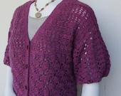 Alpaca Sweater - Purple Alpaca Cardigan, Crochet Cardigan Sweater, Women's Sweaters, Resort Wear, Available in S/M