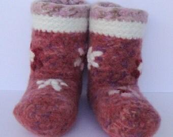 Crochet Booties, Booties, Pink Booties, Women's Booties, Woolen Socks, Non Skid Socks, Slipper Socks, Felted Wool, Women's 5 1/2