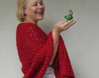 Red Shawl, Valentine, Crochet Shawl, Shawls, Crocheted Shawls, Wraps Shawls, Gift for Her, Women's Gift, Gift for Mom, Friendship Shawl