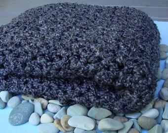 Meditation Shawl, Crochet Shawl, Crocheted Shawl, Gray Shawl, Gift for Him, Gift for Her, Wraps Shawls, Graphite Gray Shawl, Hand Crocheted