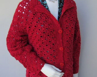 Crochet Cardigan, Valentine's Gift, Merino Wool Sweater, Merino Cardigan, Cardigan, Red Cardigan, Women's Cardigan Sweaters, Available in S