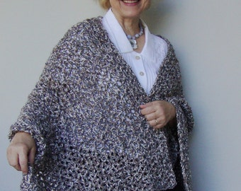 Crochet Shawl - Gift for Her, Women's Gift, Gift for Him, Evening Shawl, Tweed in Gray, Camel and Cream