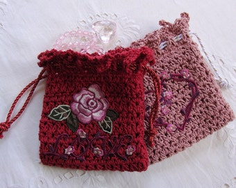 Jewelry Pouch, Gift Bag, Valentine's Gift, Girlfriend Gift, Drawstring Pouch, Best Gift for Her,Offered as a Pair of Red and Pink