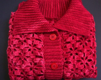 Merino Wool Sweater, Red Cardigan, Valentine's Gift, Crochet Cardigan, Merino Cardigan, Women's Cardigan Sweaters, Available in  M/L