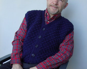 Men's Wool Vest, Vests, Men's Sweater Vest, Navy Blue Vest, Crochet Sweater, V-Neck Sweater, Grandpa Gift, Gift for Him, Available in L