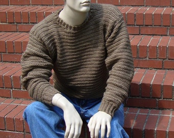 Wool Sweater, Men's Sweater, Men's Wool Sweater, Crewneck Sweater, Pullover, Jumper, Tan Sweater, Available in M, and L