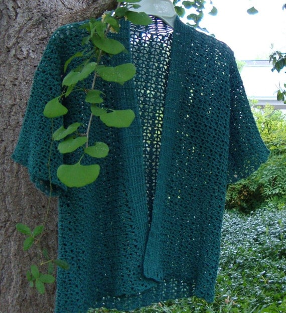 Cardigan Sweater - Teal Cardigan, Mother's Day gift, Crochet Cardigan, Kimono Cardigan, Women's Sweaters, Cotton/Hemp, Available in XL