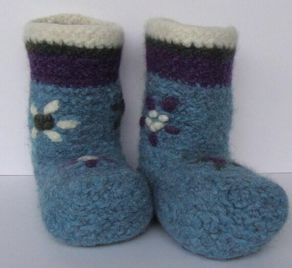 Crochet Booties, Booties, Girl's Booties, Non Skid Socks, Woolen Socks, Sky Blue Socks, Felted Wool, Gift for Girl, Women's 5