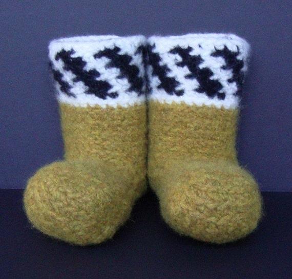 Booties, Women's Booties, Crochet Booties, Yellow Socks, Non Skid Socks, Felted Wool, Gift for Her, Women's 5