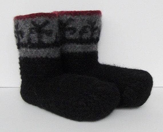 Men's Wool Socks - Epic Mission, Black, Felted, Handmade, Men's 12-13