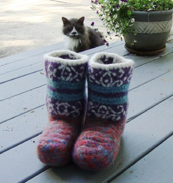 Booties, Crochet Booties, Woolen Socks, Gift for Her, Arabian Night, Non Skid Socks, Felted Wool,  Women's 5