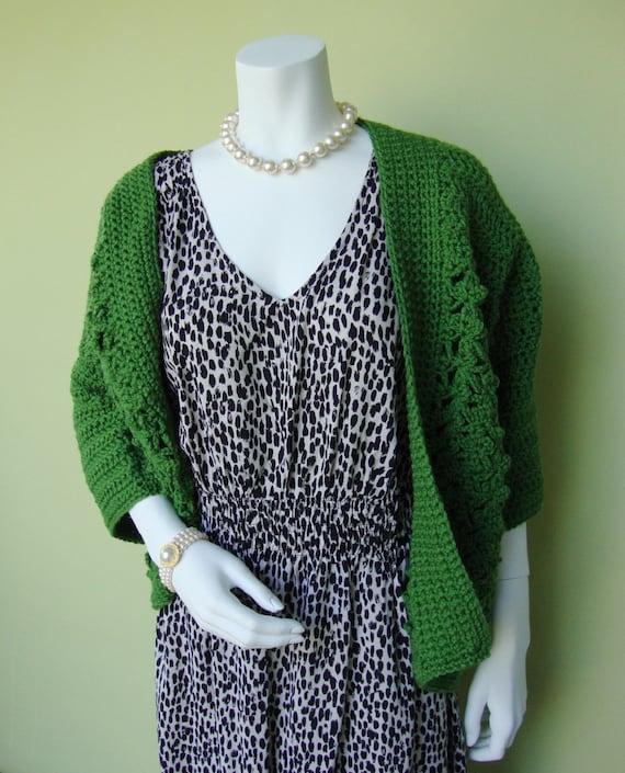 Green Sweater - Women's Crochet Cardigan, M