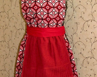 Vintage Look Apron - reversible with removable hand towel, red, vintage inspired