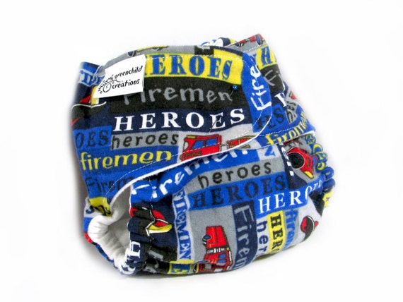 Fitted Cloth Diaper, OS, Flannel - Firemen, Heroes, Firetrucks, Blue